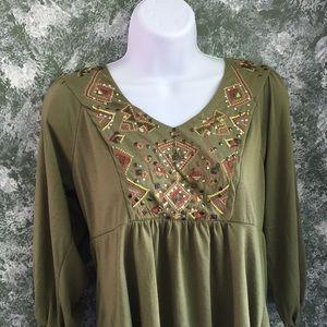 Dress Barn Green Embellished Top
